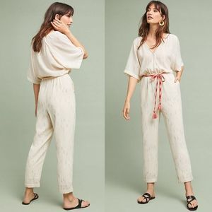 NWOT Anthropologie Soleil Belted Jumpsuit